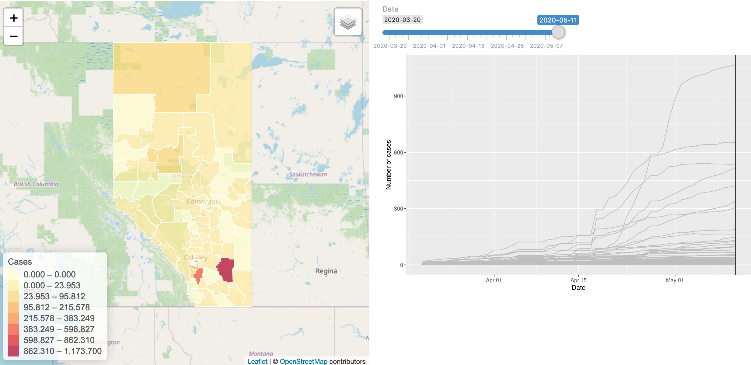Map of COVID-19 cases in Alberta