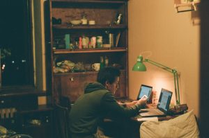 Photo of student at home by Max Shilov on Unsplash